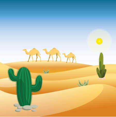camels: Desert with camels and cactus