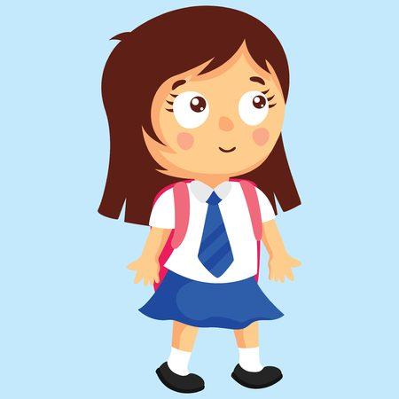 niño preescolar: School Girl con una mochila. chica de estilo de Japón. Vectores