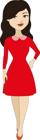 red dress: Beautiful woman in red dress