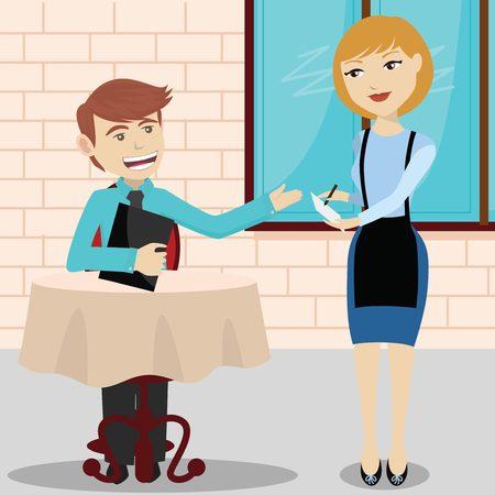 Kellnerin in einem Restaurant, das männliche Kunden und Schreiben der Bestellung Vektorgrafik