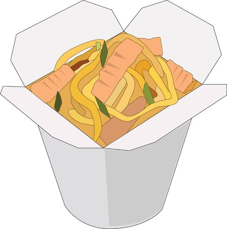 chinese food container: Asian, Chinese, Thai, Korean udon noodle box