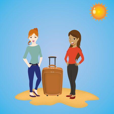llegar tarde: chicas de turistas que se coloca con un equipaje viaje maleta esperando para vacaciones soleadas