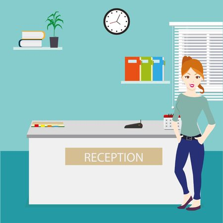 closet communication: Happy female receptionist standing at hotel reception