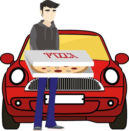 hurried: Pizza delivery. Man standing with pizza in front of pizza car.