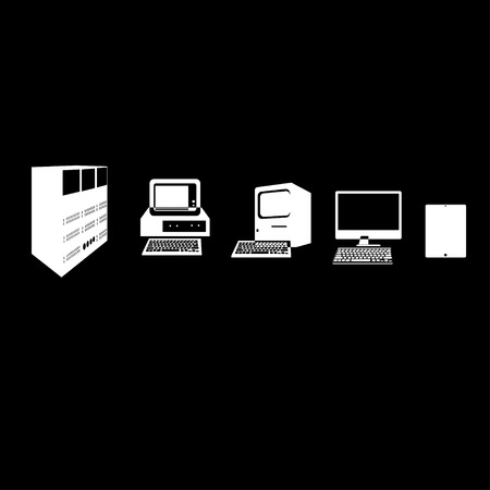 old pc: Computer evolution silhouette: from old PC to modern tablet on black background Illustration
