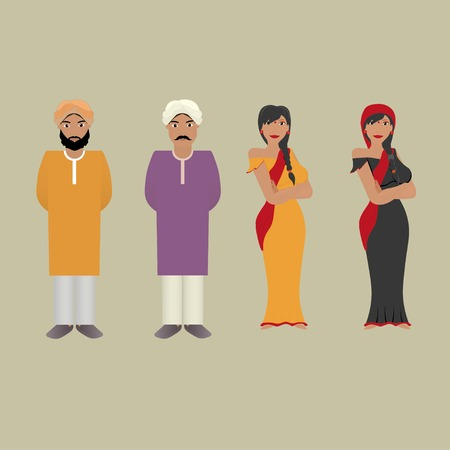 indian family: Set of Indian people Illustration