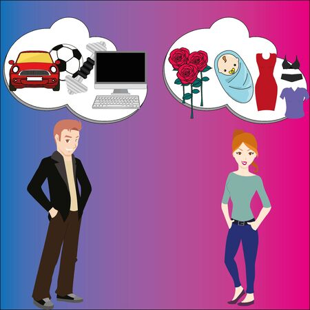 school teens: Man and woman dream about different things: sport, baby, computer, dresses