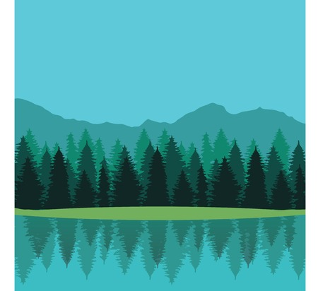 painterly effect: Lake surrounded by coniferous trees and mountains