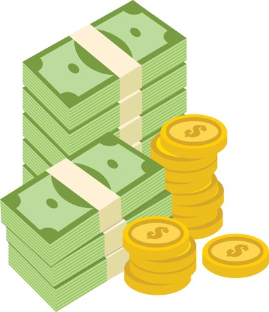 pile of money: Big pile of cash money and coins