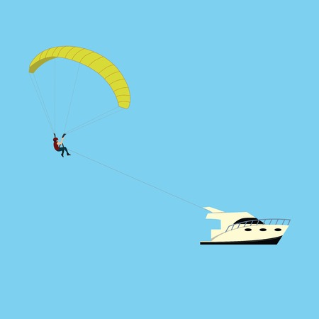 motor boat: Man fly with parachute behind the motor boat
