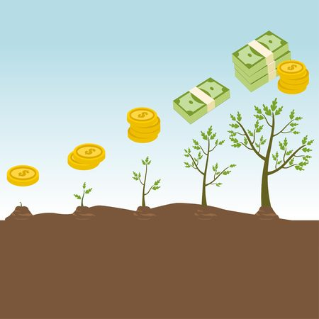 Tree growth concept with increasing money 矢量图像