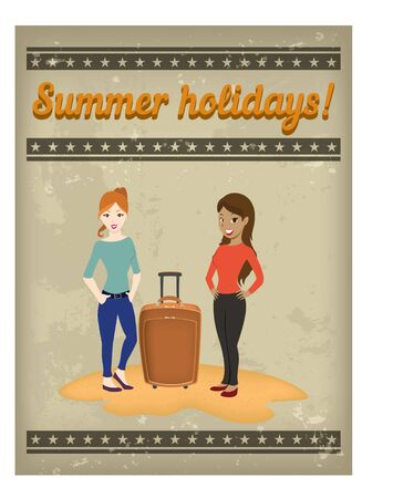 water animal bird card  poster: Summer holidays poster with two sexy girls and suitcase