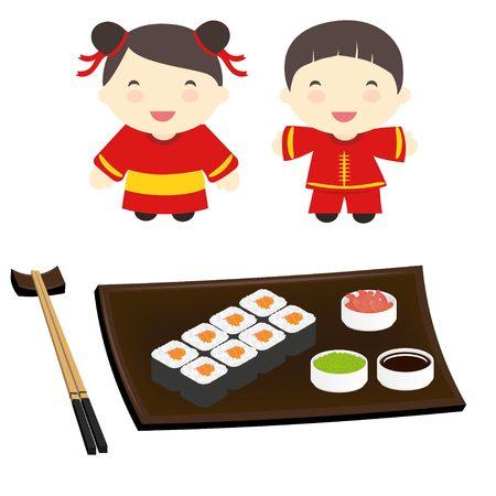 Asian kids enjoy traditional Japanese food