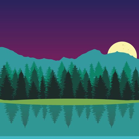 Nightly landscape with full moon, lake, forest and mountains