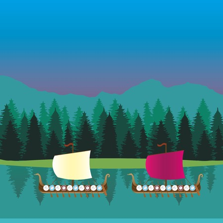 middle ages boat: Viking ship sails on the lake in forest