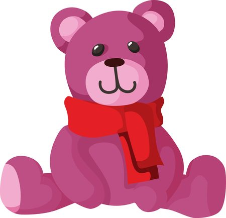 pink teddy bear: Basic pink teddy bear on white background Illustration