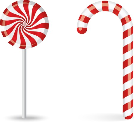 Vector set of two red and white candy sweets Illustration