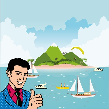 recliner: Man showing thumb up on tropical island. Good summer vacation advertising. Illustration