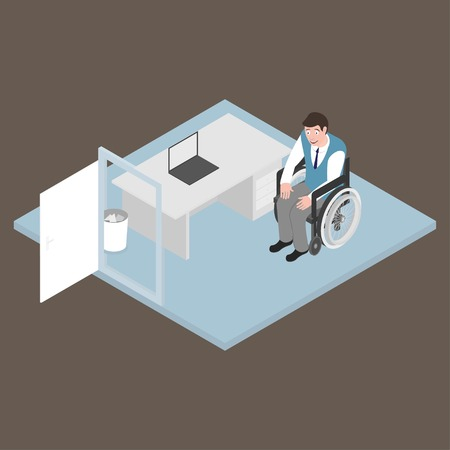 amputee: Isometric handicapped man in wheelchair working in the office. Disabled job.