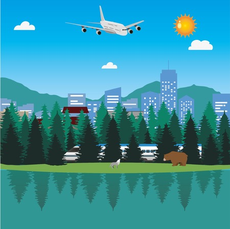 Lake and forest in front of big city with train and airplane. Nature and city together.