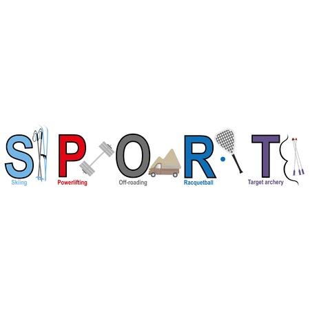 racquetball: Deporte palabra con las cartas deportivas: esqu�, levantamiento de pesas, el off-road, racquetball, blanco con arco.