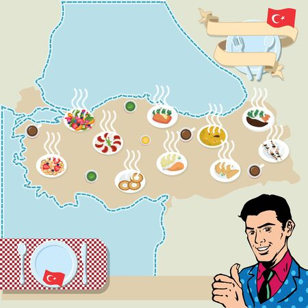 nectarine: Man showing thumb up on turkey map poster with traditional turkish food Illustration