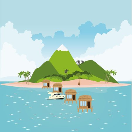 thatched: Bungalow village on island in ocean with yacht