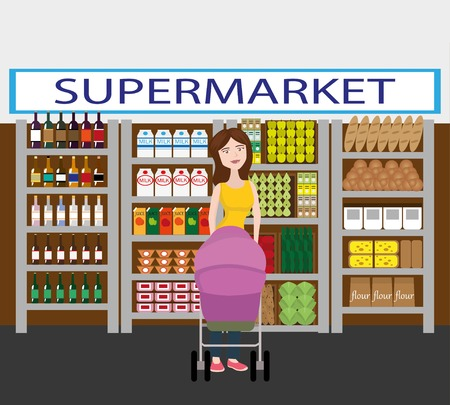 basketful: Mother with her baby in the stroller. Shopping in supermarket.