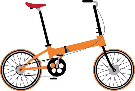 family hiking: Isolated folding Bicycle. Small bike.