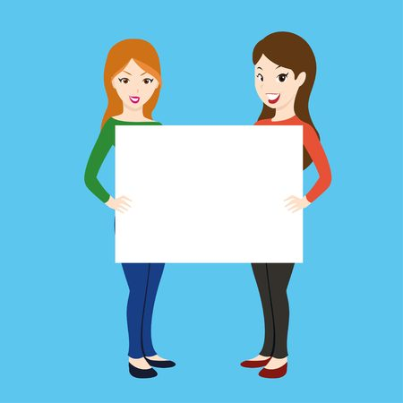 Two sexy girls holding poster Illustration