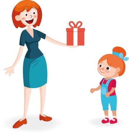 altruismo: La madre da el regalo a la hija Vectores