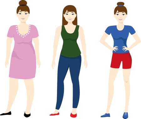 sedentary: Ladies with different body mass. Woman weight loss. Illustration
