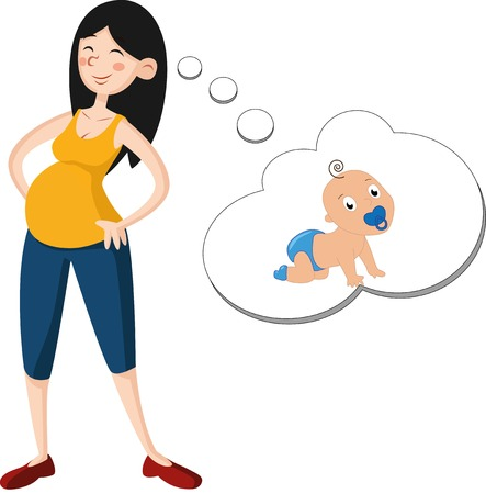 Cute pregnant woman dreaming about baby