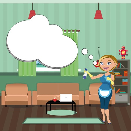 Woman cleaning room. Cleaning service. Illustration