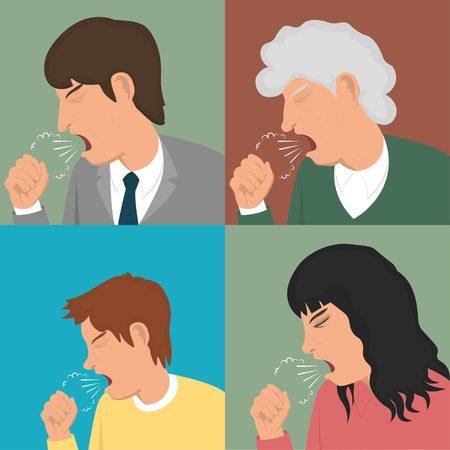 coughing: Coughing man, woman, teen. Coughing set.