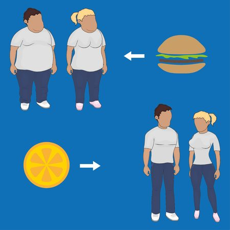 self improvement: Man and Woman before and after diet Illustration