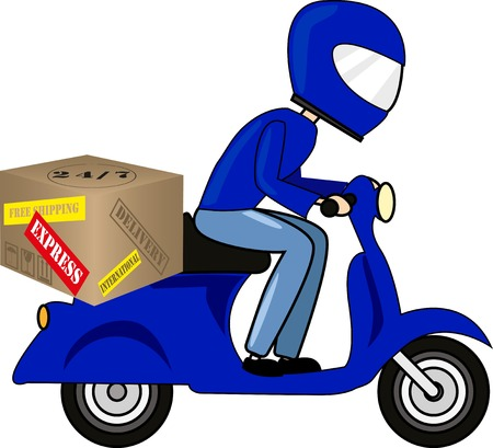 Man riding bike with delivery box Illustration