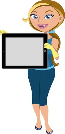 Happy girl showing black tablet