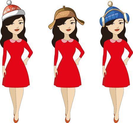 Beautiful women with winter hats set