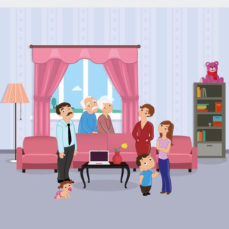 grandmother mother daughter: Family standing in dining room: grandmother, grandfather, father, mother, daughter, son, baby Illustration