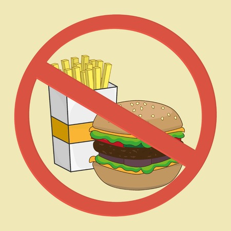 allowed: No food allowed sign. No fast food. Illustration