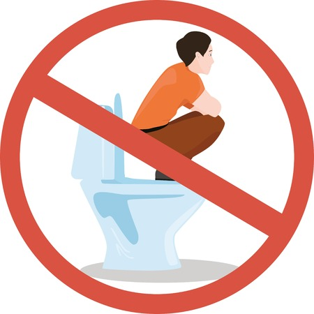 urinate: Toilet rules: dont sit watercloset Illustration