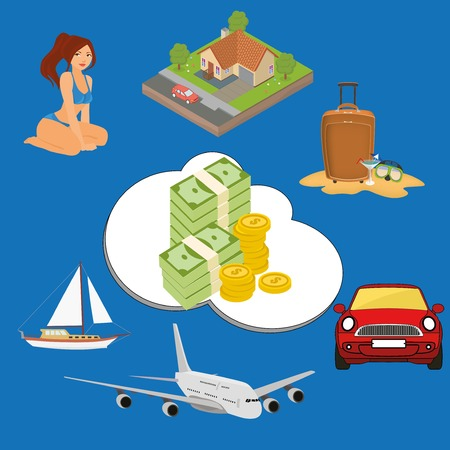 luxury yacht: Money power: what can you buy for money. Luxury yacht, plane, car, house.