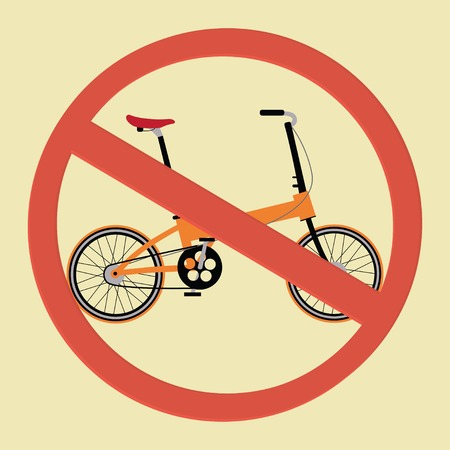 illegally: Vector sign: no bicycle allowed. No bike sign.