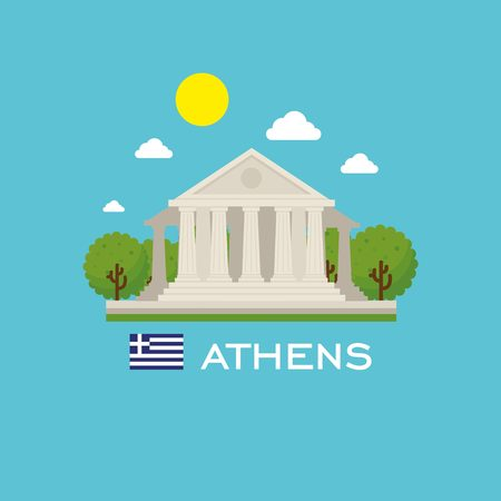 points of interest: Athens badge infographic with ancient monument in Greece. Flat style. Illustration