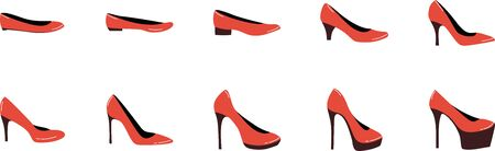Different heel heights of woman shoes. Set of 10 heels from small to big. Illustration