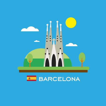 sagrada familia: Barcelona badge infographic with ancient monument in Spain. Flat style.