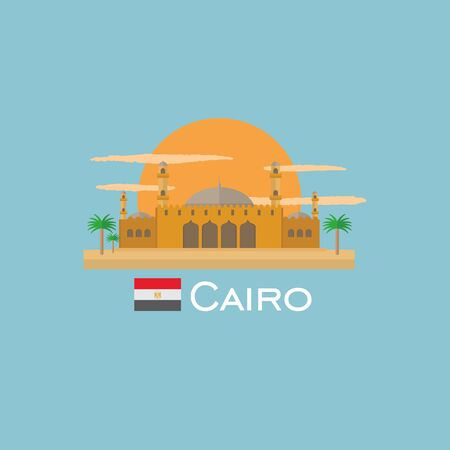home theater: Cairo badge infographic with ancient monument in Egypt. Flat style.