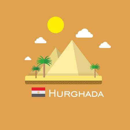 white nile: Pyramid in Hurgada infographic bade. Egypt buildings.