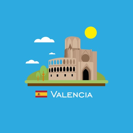 Valencia badge infographic with ancient monument in Spain. Flat style.